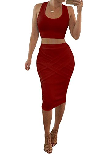 Two Piece Skirt - LaSuiveur Womens Crop Top Midi Skirt Outfit Two Piece Bodycon Bandage Dress Small Red