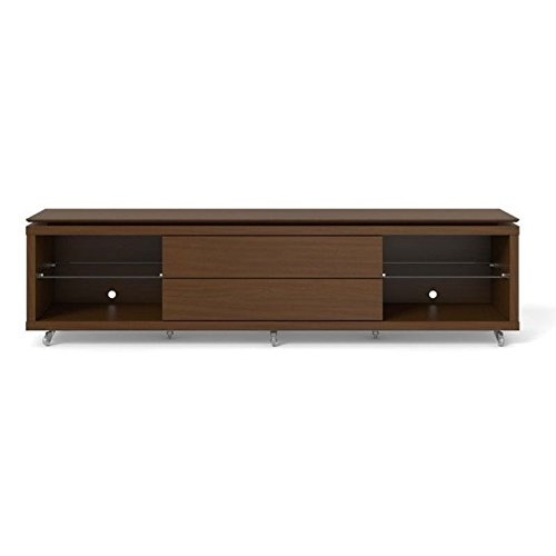 Manhattan Comfort Lincoln 2.2 Collection 17351 85'' TV Stand with Silicone Casters 4 Shelves and 2 Telescopic Drawer Slides in Nut
