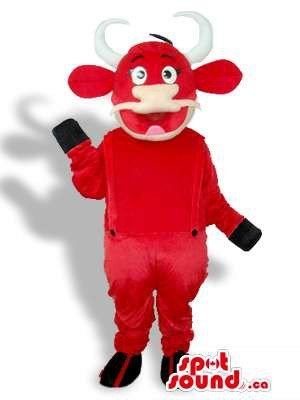 Peculiar Great Red Cow Plush Mascot SpotSound US Dressed In Red Overalls (Plush Cow Mascot Costume)