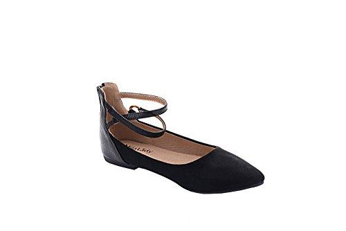 Mila Lady Lee Fashion New Cinturino Alla Caviglia Punta A Punta Womans Con Cerniera Piatta Nero