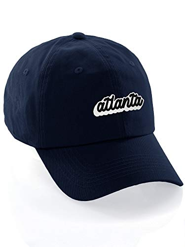 Classic Unstructured USA Cities Baseball Dad Hat 3D Raised PVC Letters Cap, Atlanta Navy, White Black