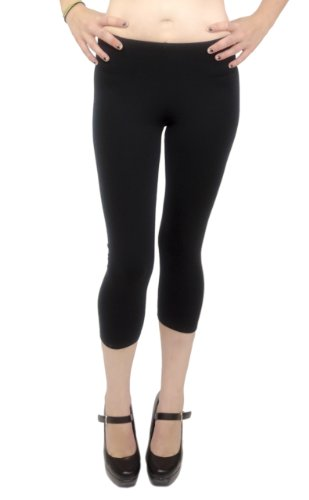 Vivian's Fashions Capri Leggings - Cotton, Junior Size (Black, 2X)