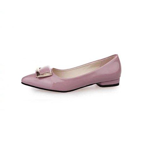 zapatos de tacón primavera/ caja suave puntiagudos zapatos de hebillas/Asakuchi plana Joker de zapatos-A Longitud del pie=24.8CM(9.8Inch)