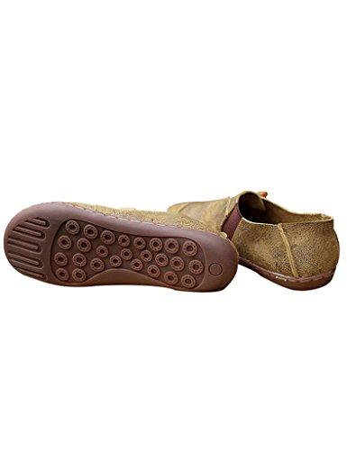 Youlee Mujeres Vendimia Zapatos de plataforma Zapatos planos de cuero Verde claro