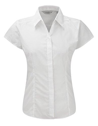 Russell Collection à manches Cap pour femme-T-Shirt en popeline pour homme Entretien facile -  Blanc - X-Small