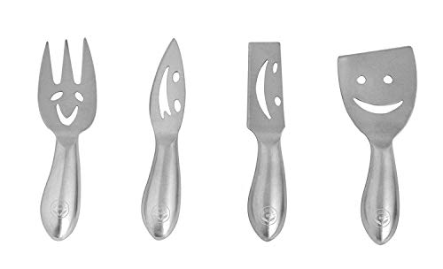 NewlineNY Stainless Steel 4 Pieces Smiling Faces Cheese Knife Set: Hard and Soft Cheese Knives, Serving Fork & Cheese Spreader