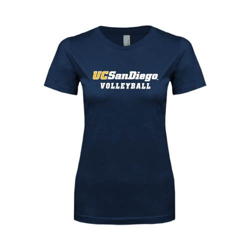 UC San Diego Next Level Ladies SoftStyle Junior Fitted Navy Tee 'Volleyball'