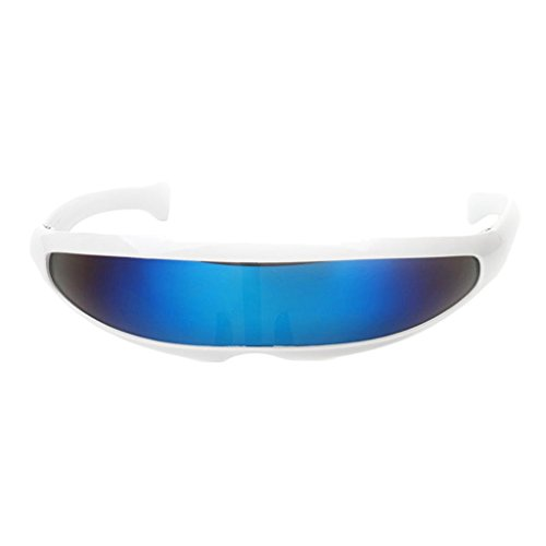 (Homyl Funny Futuristic Narrow Plastic Color Mirrored Single Lens Visor Sunglasses - White Frame Blue Mirrored, as described)