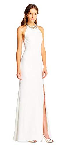 Adrianna Papell Crepe Halter Mermaid Dress Jeweled Neckline, Ivory, 14