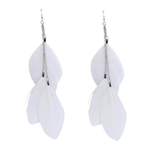 MAIDIEN Women's Fine Earrings Bohemian Earrings Handmade Vintage Fashion Feather Long Drop Feather Dangle Earrings White Drops Dangles Earring Findings