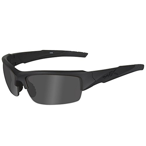 Wiley X Valor Sunglasses (Smoke Grey/Clear/Light Rust Lenses, Matte Black ()