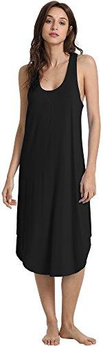 GYS Women's Racerback Bamboo Nightgown, Black, Medium