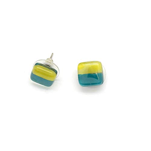 Small Square Fused Glass Stud Earrings - Jade Green & Chartreuse Yellow. Fair Trade.