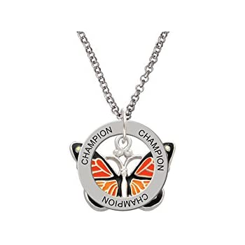 Delight Jewelry Large Monarch Butterfly with 6 AB Crystals Custom Engraved Name Ring Crystal Necklace