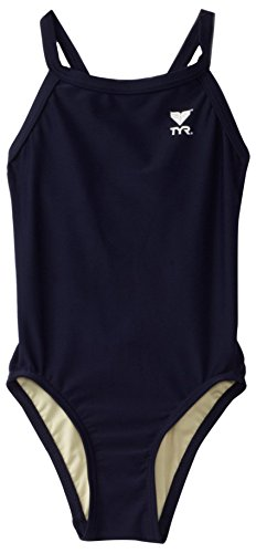 TYR Sport Girls' Solid Diamondback Swim Suit (Navy, 22)