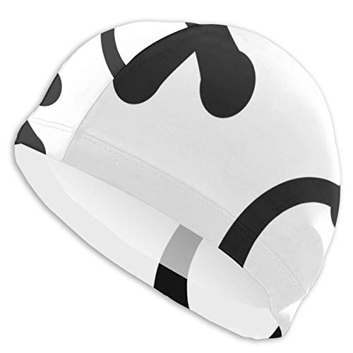 K0k2to Swimming Cap Elastic Swimming Hat Diving Caps,Love and Friendship Expression Letters Symbolic Icons Simplistic Art Pattern,for Men Women Youths ()