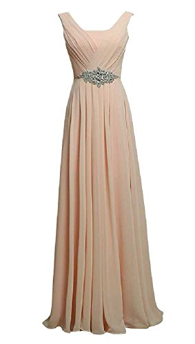Party Beauty Rundhalsausschnitt Rose Kleid lang Strass Emily Trägern 7PwpqPtz