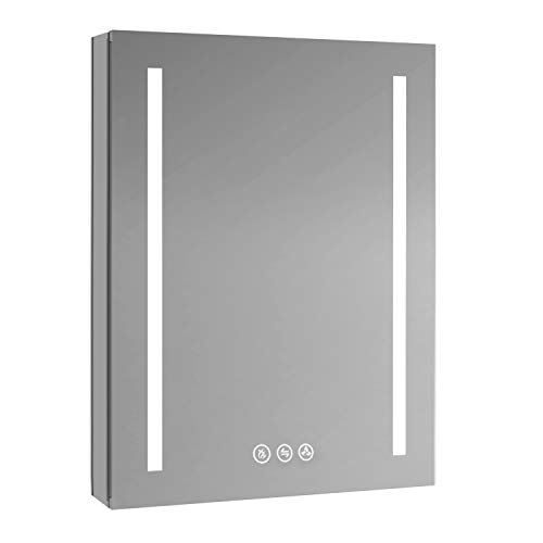 Blossom Recessed or Surface LED Mirror Medicine Cabinet with Defogger, Dimmer, Outlets & USB Ports (24x32/Left Hinge)