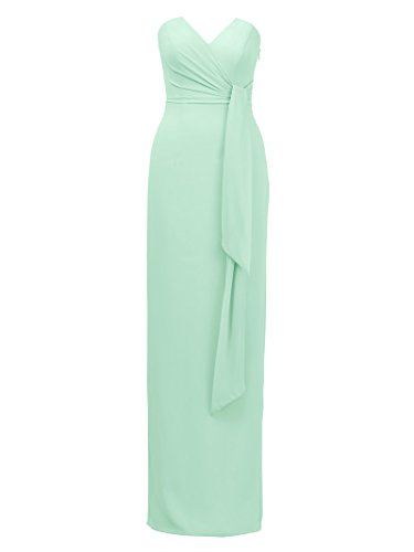 Back Dress Evening Green Maxi Mint Bridesmaid Elegant Split Alicepub Dress Party Dresses SZIqwx01