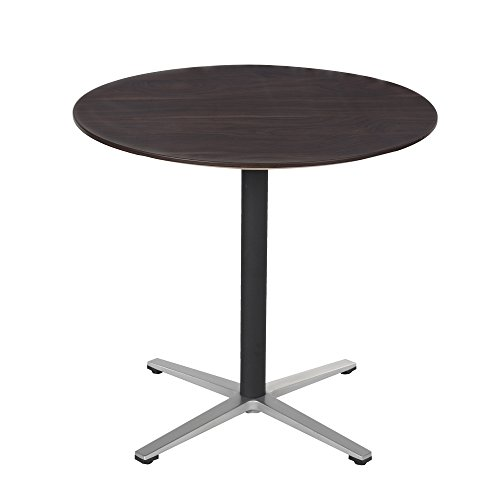 Sunon 31.5-Inch Small Round X-style Pedestal Pub Bistro Table(Dark Walnut,29.5-Inch Height) (Small Pedestal Table)