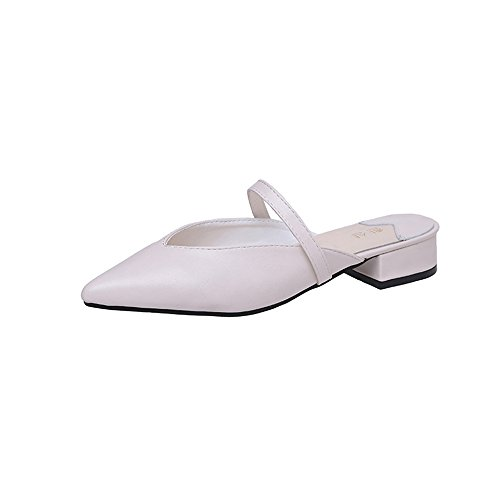 Shoes 1 Fashion Classic Sandals Loafers Slippers Pointed excellent Flat Toe White Women's c COXqnBxwp