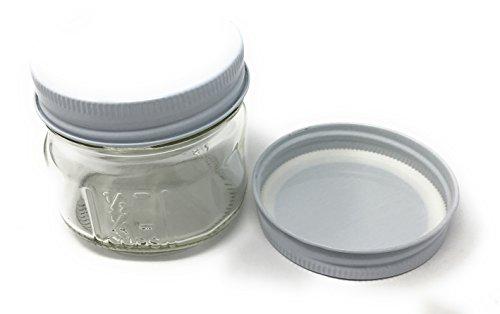 4 oz Square Mason Glass Jar White Metal Lids (12 Pack) (White Metal Lids)]()