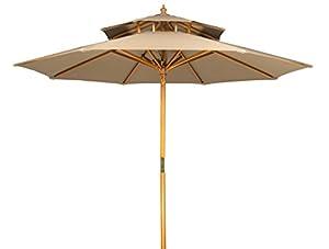 Charming 9u0027 Wood 2 Tier Pagoda Style Patio Umbrella By Trademark Innovations (Tan)