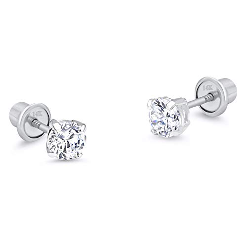 14k White Gold 3mm Basket Round Solitaire Cubic Zirconia Children Screw Back Baby Girls ()