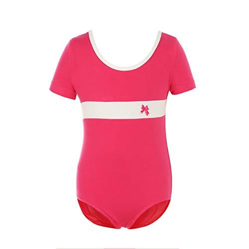 MAGIC PRINCESS Girls Classic Short Sleeve Soft Cotton Leotard for Dance/Gymnastics/Ballet (6-8(L)4030E-Hot Pink)]()