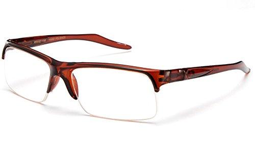 Newbee Fashion - Unisex Slim Fit Half Frame Clear Lens Glasses Brown