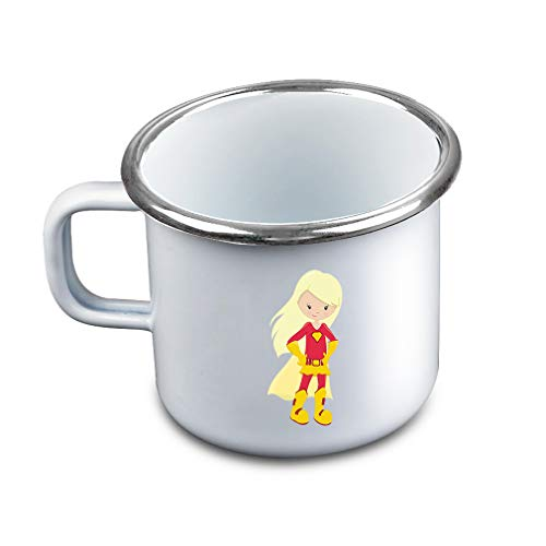(Super Girl Red Costume Blonde Metal Camping Mug Enamel Cup)