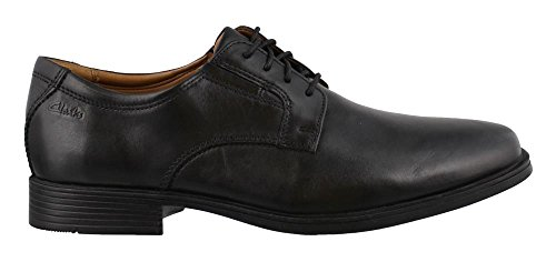 Clarks Men's Tilden Plain Shoe, black leather, 13 Wide US ()