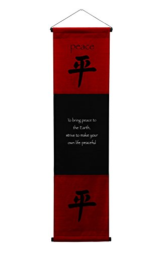 Chinese Peace Sign (Large Cotton Scroll Inspirational Quotes Wall Hangings Peace Wall Decor Art Affirmation Motivational Banner (Red)