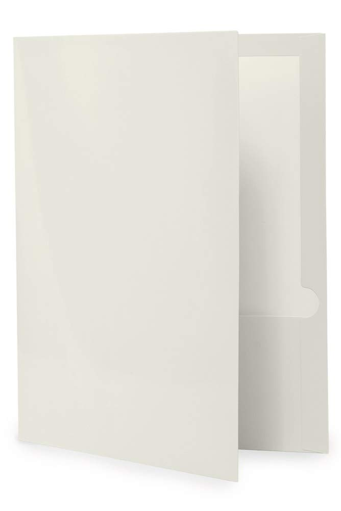 50-Pack White Glossy Twin Pocket Folders by goindico