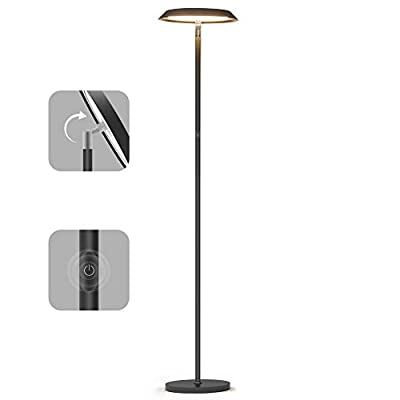 LED Floor Lamp,Dimmable Tall Floor Lamps,Industrial Floor Lights Standing Modern Pole Light,TECKIN Touch Control Reading Light for Living Rooms Bedrooms Offices,3000K Warm White, 20W, Black
