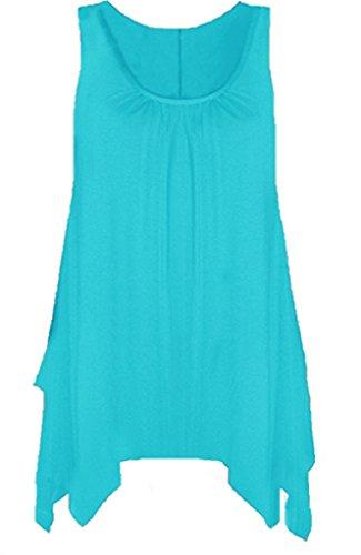 Boutique - Camisa sin mangas para mujer, con dobladillo y acampanada, disponible en tallas grandes turquesa