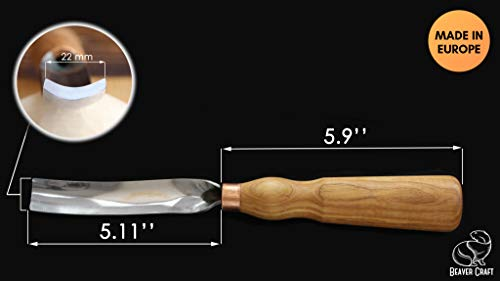 BeaverCraft Wood Carving Gouge Chisel 7L/22 Wood Carving Tools Bowl Carving  Carbon Steel Blade Wood Handle Radial Gouge Hard and Soft Woods