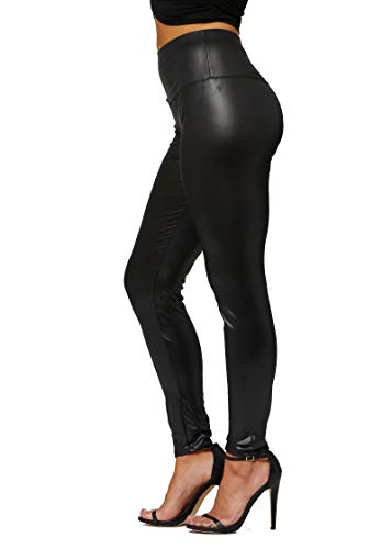 Conceited Sexy Faux Leather Leggings for Women - High Waisted - Reg and Plus Size - Yoga Waist Black 1X - 2X