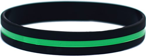 SayitBands Thin GREEN Line Silicone Wristband Bracelets Awareness - Green Thin