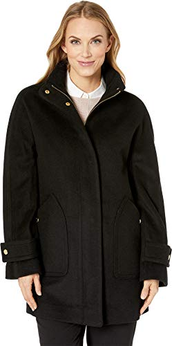 Anne Klein Women's Zip Front Wool Coat with Snaps Black Large