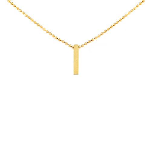 Automic Gold Solid 14k Yellow Gold Bar Necklace, 16