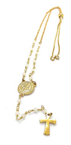 LESLIE BOULES Rosary Beads Necklace 16