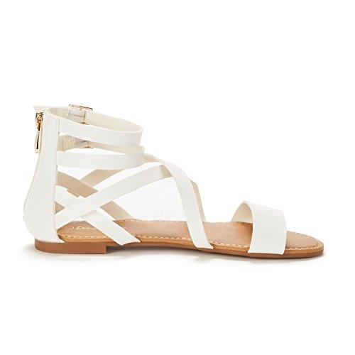 Sandals DREAM Fashion Flat Women's Ankle White Strap SAFARI Pu PAIRS rBqgB0Cw6