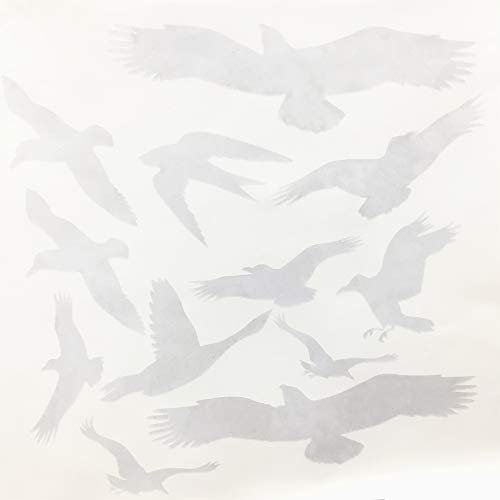 Window Alert Bird Stickers Silhouettes Glass Door Protection Save Birds, Transparent - by FMJI