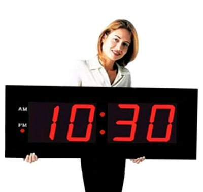 Large Digital LED Clock Giant 8 Numeral Red LED Wall Clock with