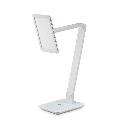 TaoTronics 10W LED Schreibtischlampe Tischleuchte mit Touchfeld, supergroßes LED-Feld und stufenlose Dimmung, USB-Anschluss für Aufladung des Smartphones, Weiß