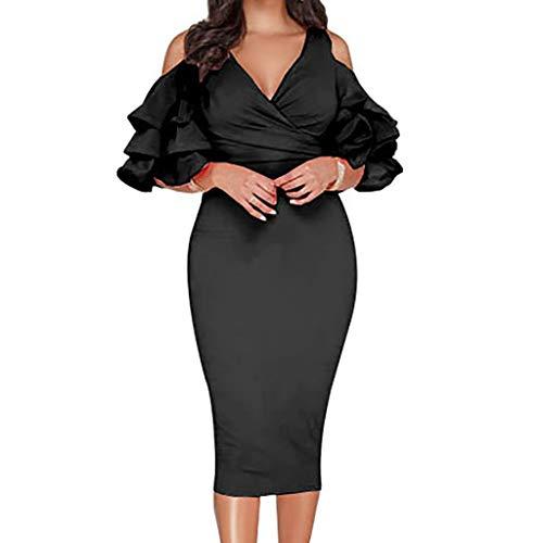 ament Fall Lotus Leaf Ear V-neck Skirt,Edge Strapless Elasticity Mini Temperament Dress (Black,XX-Large) ()
