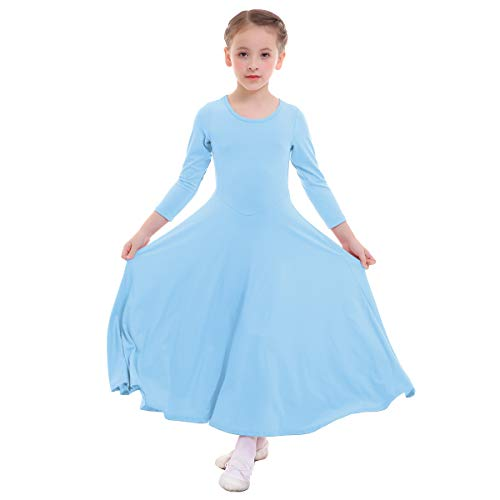 IWEMEK Girls Liturgical Praise Dress Church Loose Fit Full Length Long Sleeve Dance Dress Worship Christian Circle Costume Dancewear Praisewear Light Blue 7-8 Years