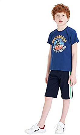 Defacto Cotton Crew-Neck Regular-Fit Printed T-Shirt for Boys