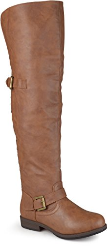 Journee Collection Women's Wide Calf Studded Over-The-Knee Inside Pocket Buckle Boots Chestnut, 9 Wide Calf US